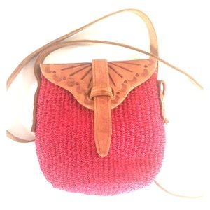 Hand tooled leather straw crossbody bag purse